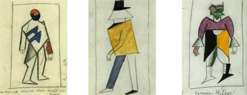 new sketches for costumes by russian artist kazimir malevich