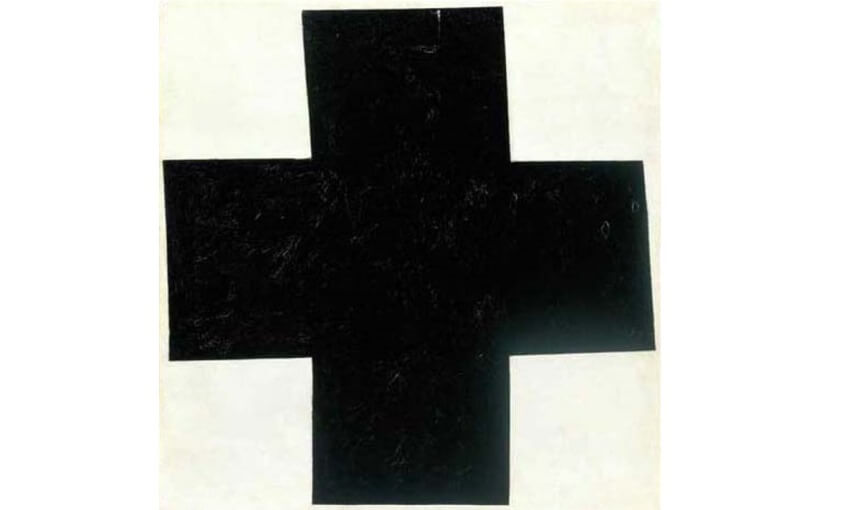 black cross abstract art painting by world famous russian artist kazimir malevich who died in 1935