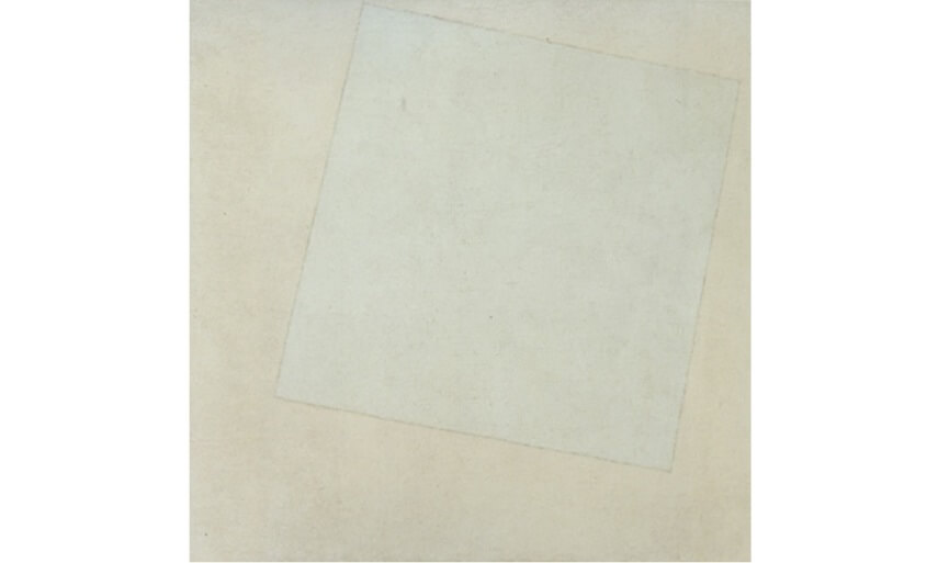 white composition and self portrait by kazimir malevich on view at museum of modern art in new york city