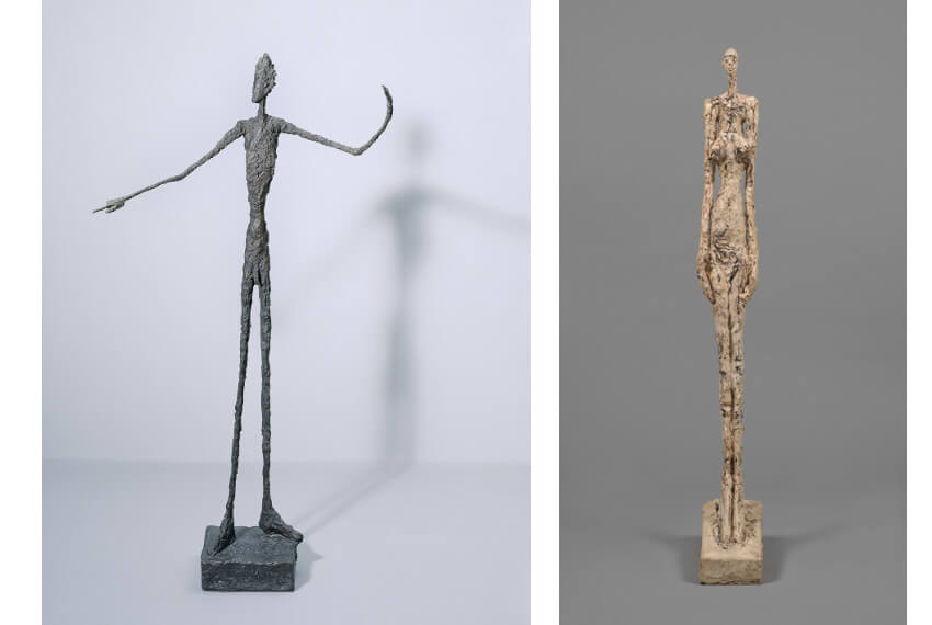 biography and figures by Swiss sculptor and artist Alberto Giacometti in New York