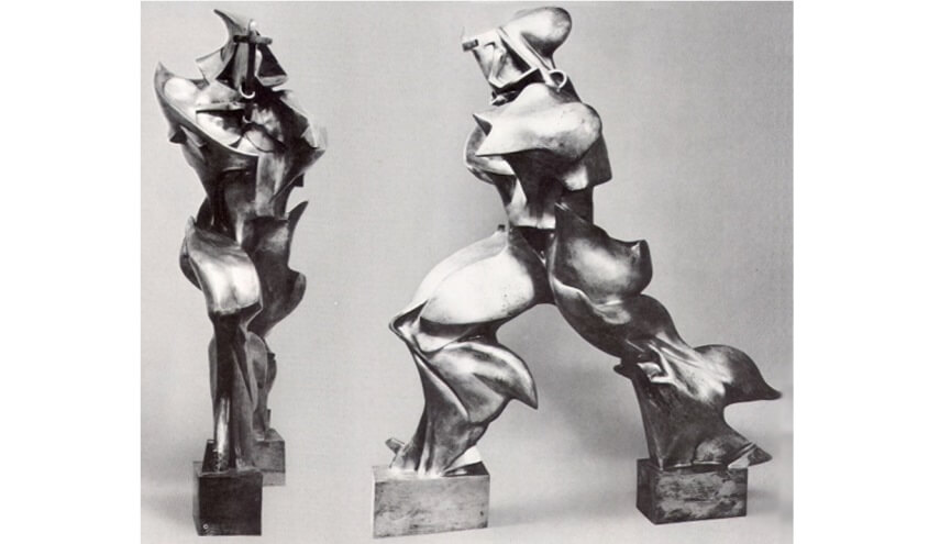 unique forms of continuity in space made in 1913 by umberto boccioni was on view at museum of modern art in new york