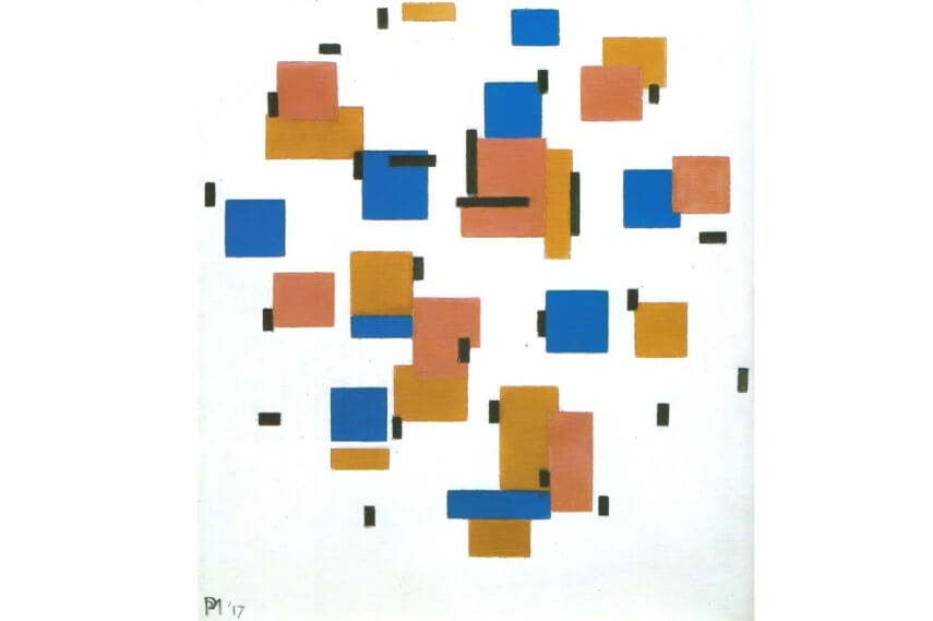 Piet Mondrian painting Composition in Colour B