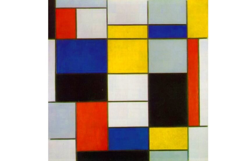 Piet Mondrian painting Large Composition A with Black, Red, Gray, Yellow and Blue