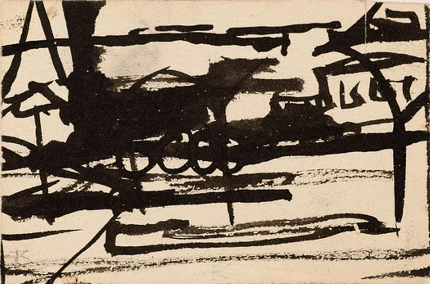 black paint by american artist franz kline 1910 pennsylvania 1962 new york