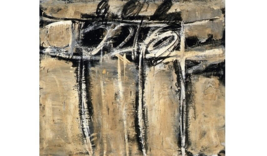black paint by american artist franz kline at museum of modern art in new york