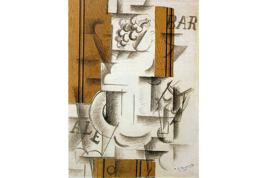 georges braque fruit dish and glass and  and pablo picasso guitar 1914
