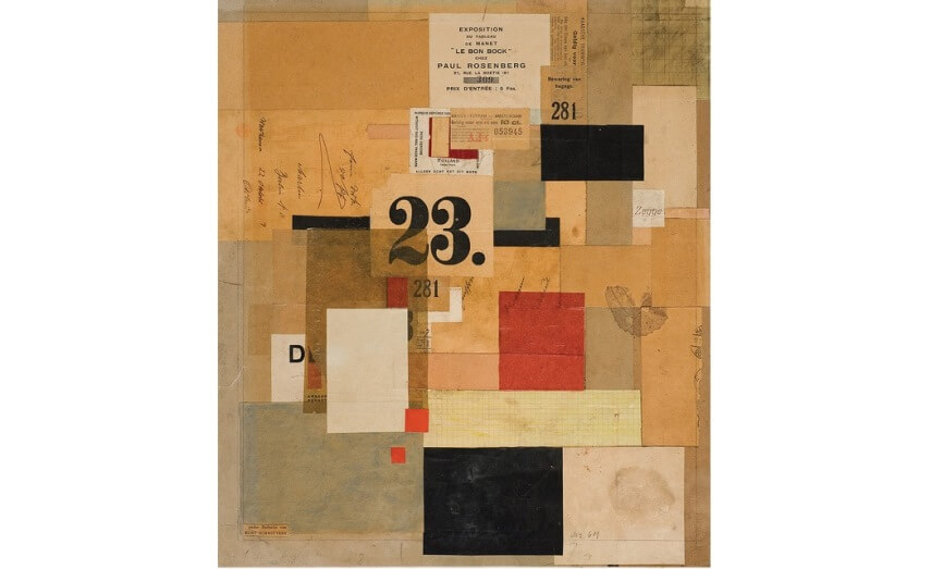cubism artist Kurt Scwitters Paint and paper on cardboard collage