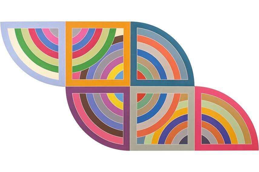 new series of work by american artist frank stella born in 1936 in malden massachusetts at new york museum and gallery of modern art