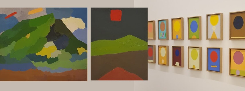 art paintings by etel adnan were on display at exhibitions in  beirut lebanon paris france and new york usa