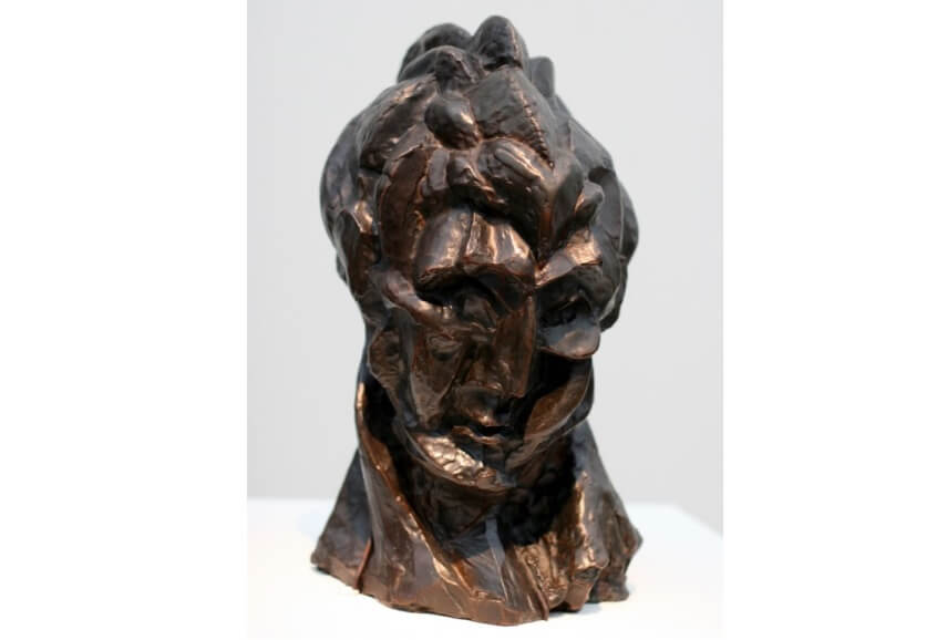 pablo picasso wooman head and other modern 20th century abstract painting and sculpture at museum in paris