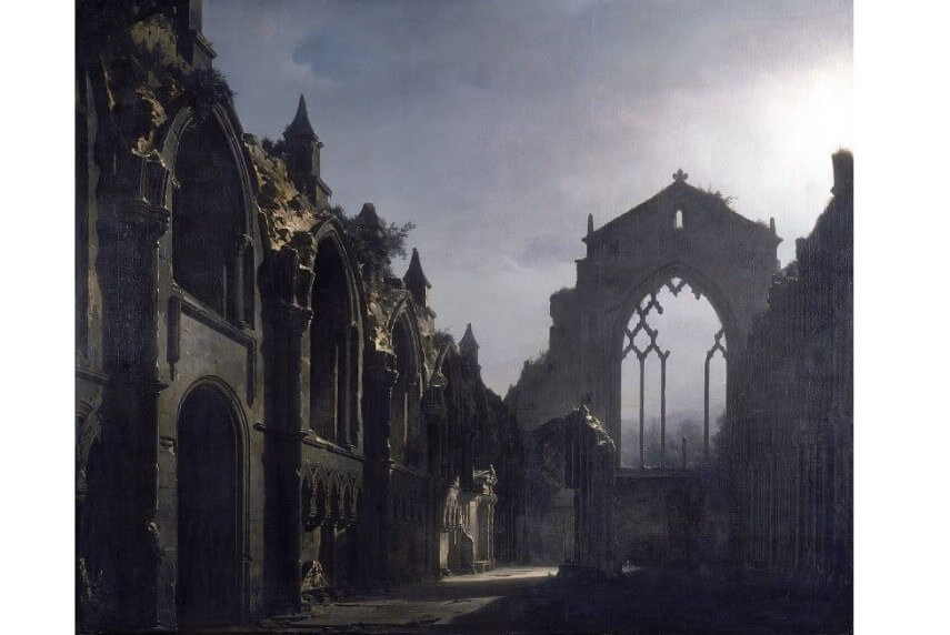 Louis Daguerre The Ruins of Holyrood Chapel painting ></p>  <p style=