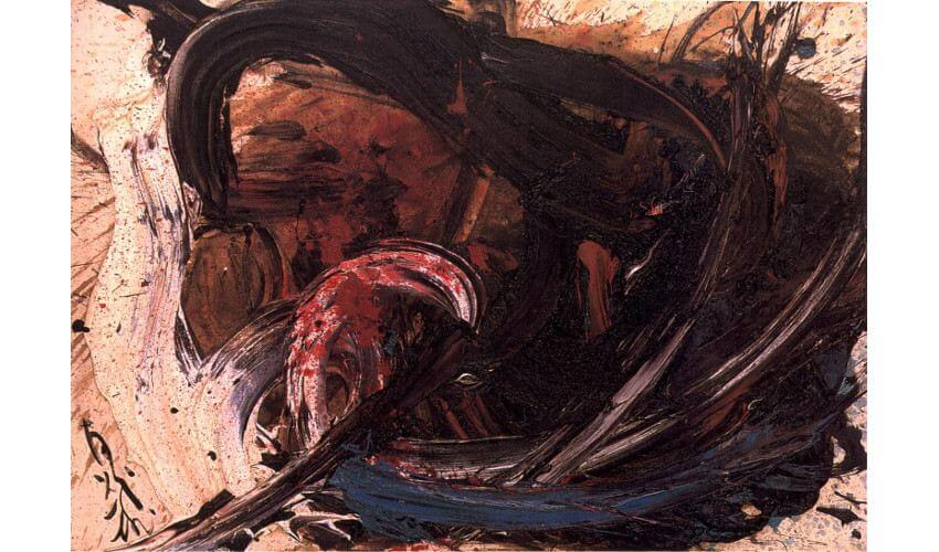 Shiraga Kazuo new painting works at museum exhibition