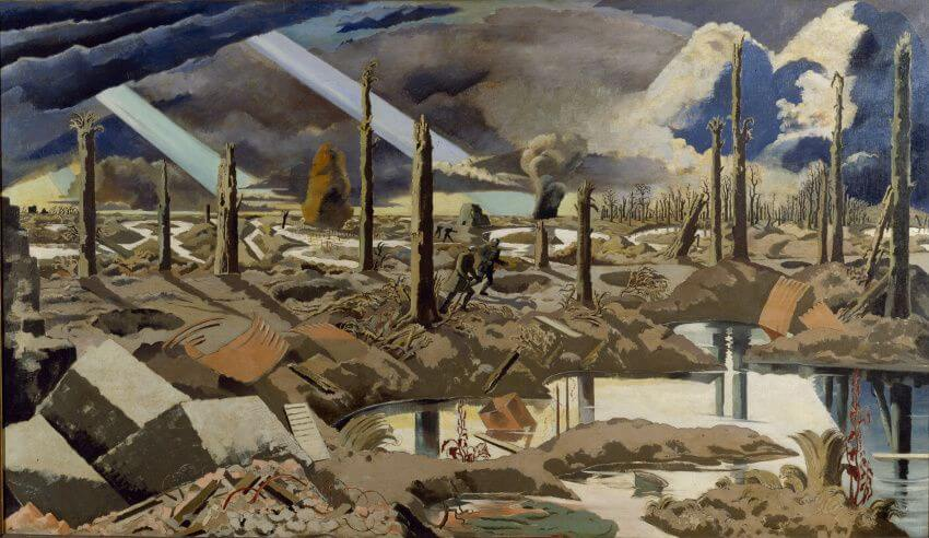 collections of landscape work of art by british surrealist artist paul nash