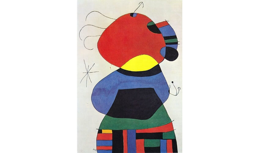 Joan Miro - Woman with Three Hairs Surrounded by Birds in the Night