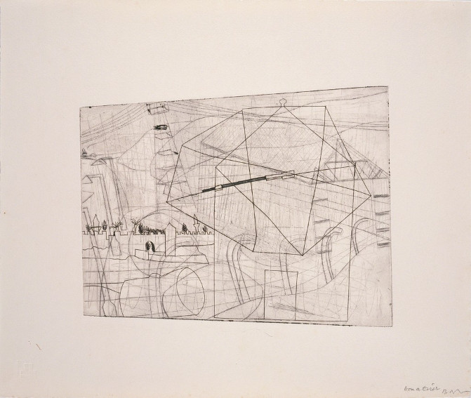 Work by British abstract painter Ben Nicholson who was born in 1894