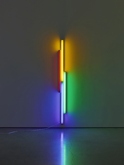 dan flavin red, yellow, blue and green fluorescent light