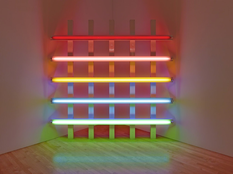 Dan Flavin installation in honor of Leo at the 30th anniversary of his gallery