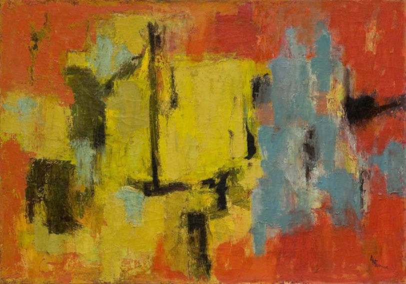 Alma Thomas Yellow and Blue painting