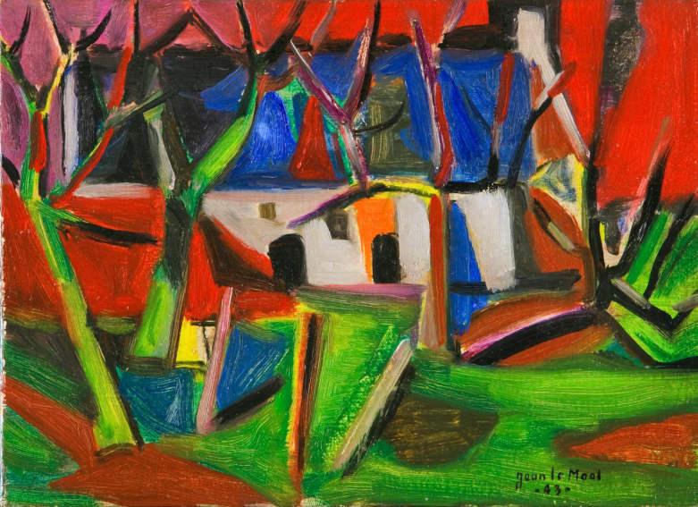 Jean Le Moal Paysage, la ferme painting