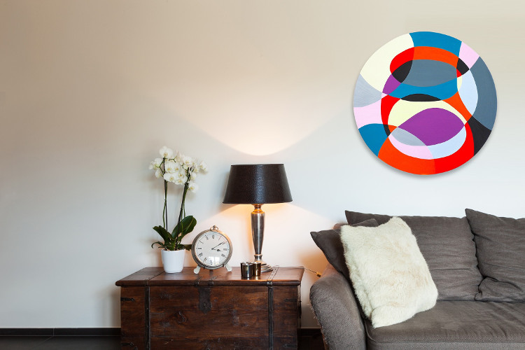 decorate a small living room with abstract art by IdeelArt artists