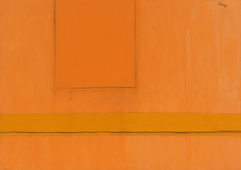 Robert Motherwell Open Number 24 in Variations of Orange painting