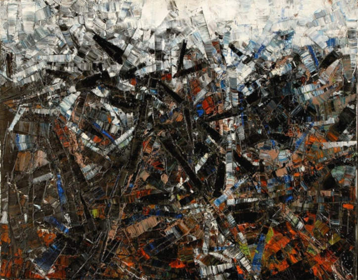 Jean Paul Riopelle Horizontal, Black and White painting