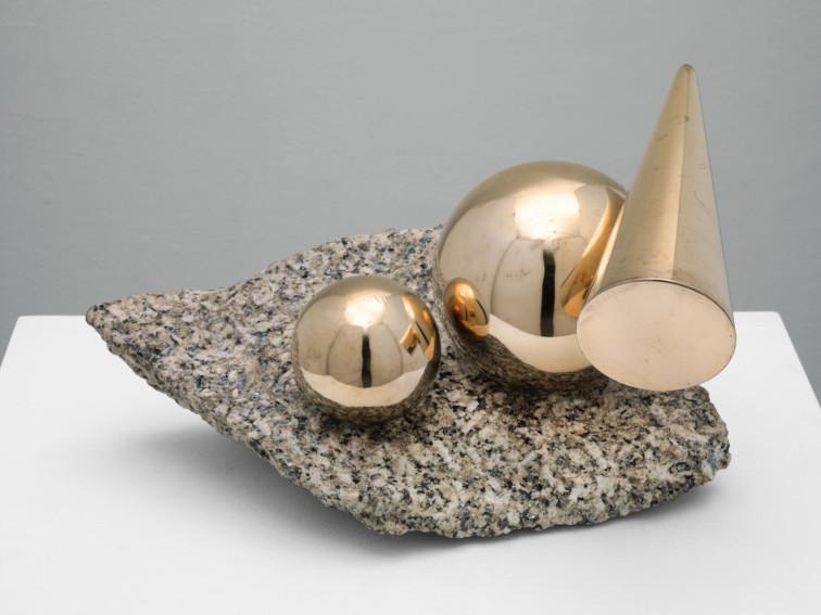 Marlow Moss Balanced Forms in Gunmetal on Cornish Granite sculpture