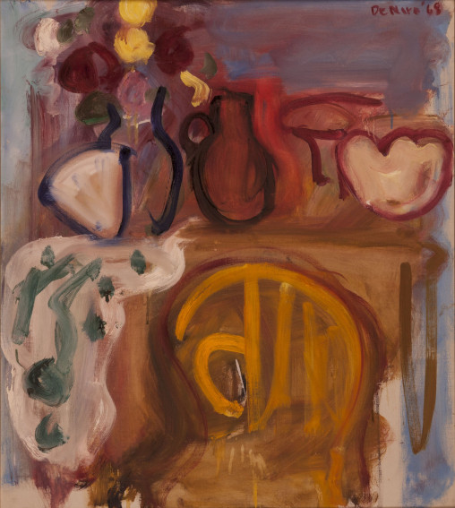 Robert De Niro Sr. Studio Interior with Yellow Chair and Vase of Flowers painting