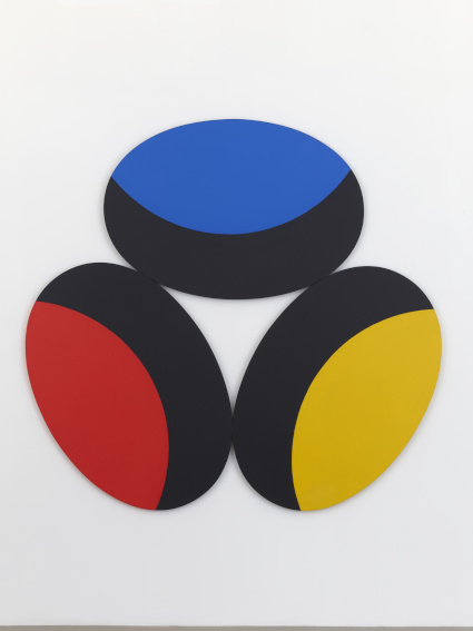 Leon Polk Smith Blue, Red, Yellow with Black Crescents painting