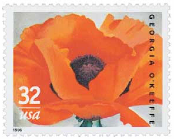 Red Poppy (1927) by Georgia O Keeffe on US Stamp