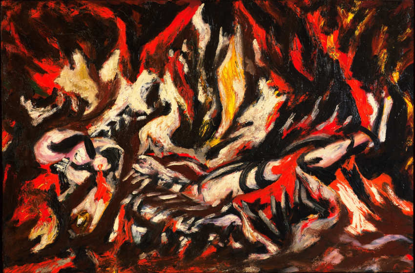 Life and art paintings by American artist Jackson Pollock