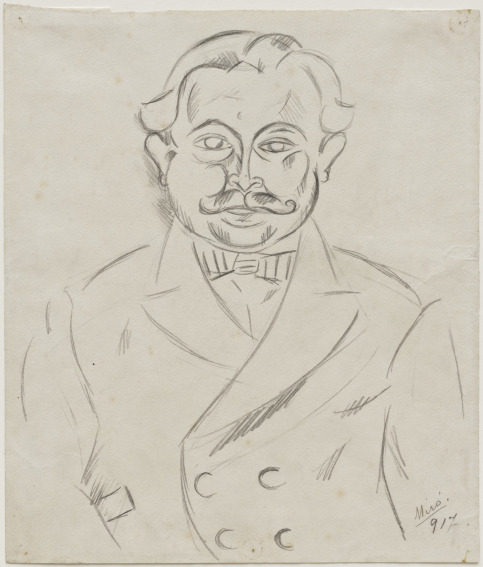 Joan Miro Man with a Moustache drawing
