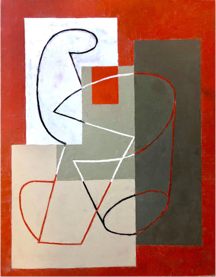 Jeremy AnnearBreaking Contour (Red Square) II painting
