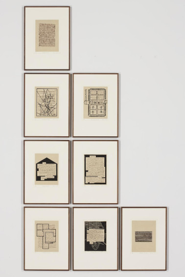Prints by Indian American artist Zarina Hashmi